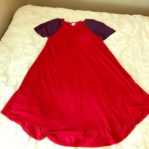 LuLaRoe Blue and Red High Low Dress